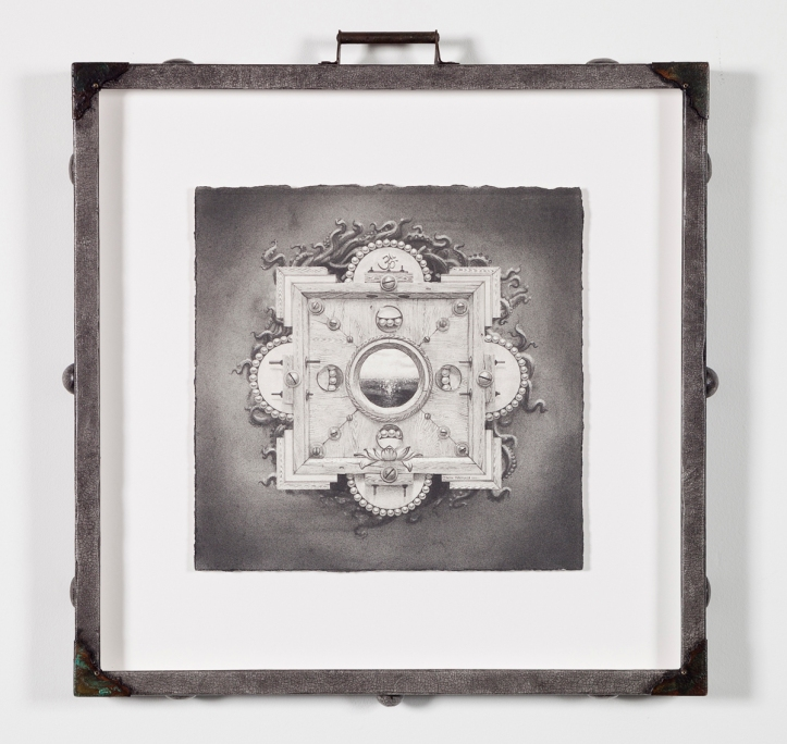 """Gateway III (Lotus Pearl)"" by Jason Brammer Medium: Graphite on paper (in custom hand-painted and hand-embellished frame) Year: 2013 Size (H x W): 19 ½"" x 19 ½"" (frame size)"