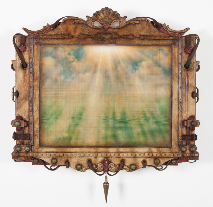 """Time Machine LXXVI (Measuring The Luminous)"" by Jason Brammer Medium: Acrylic, encaustic, plaster, antique hardware, vintage rulers, salvaged molding, recycled leather, metal, wood, and panel Year: 2013 Size (H x W x D): 41 ¼"" x 40 ½"" x 6"""