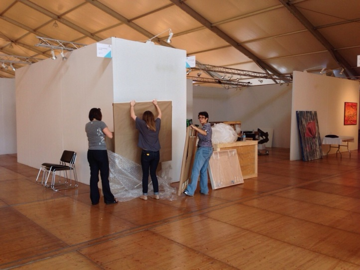 Installing our booth, 2013