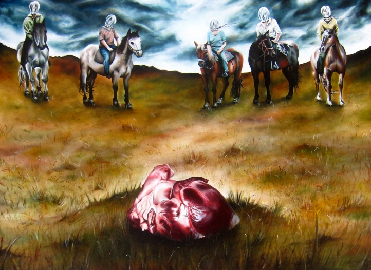 Fortitude of Heart Oil on Canvas, 36x48in., 2007, (first oil painting ever executed)
