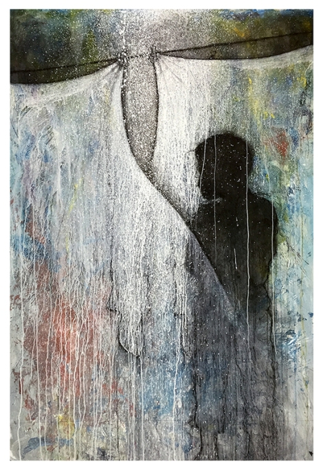 """Consciousness by Sergio Gomez. Acrylic and charcoal on paper over canvas. 51""""x72"""""""