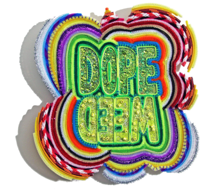 "DopeWeed © 2016 // 14"" x 12"" Mixed media on canvas * Paracord, rope, satin string, pipe cleaners, glitter, perler beads, acrylic paint, pom poms on canvas"